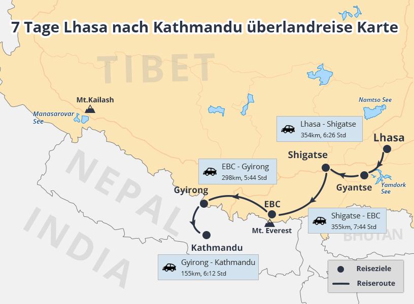 7 Tage in Lhasa nach Kathmandu Overland kleine Gruppe Tour