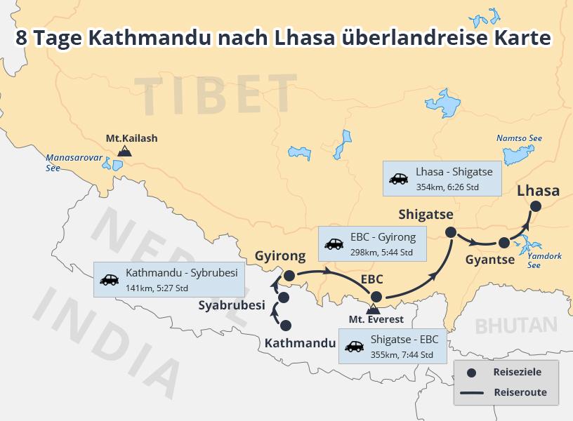 8 Tage Fahrt über Himalaya Overland Abenteuer von Kathmandu nach Lhasa